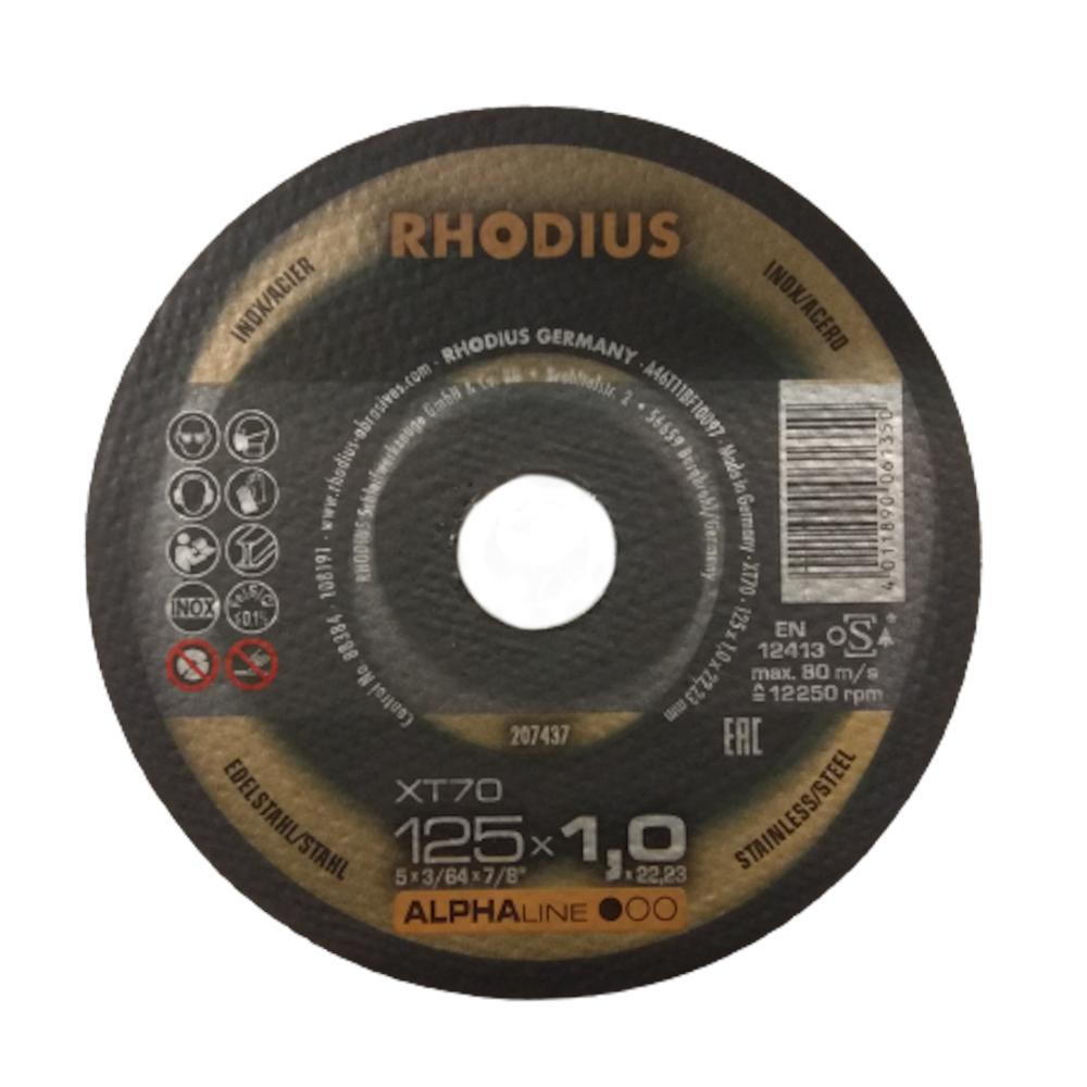 Tarcza do cięcia stali nierdzewnej inox 125×1,0x22,2mm RHODIUS XT70